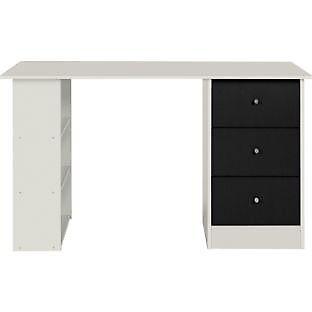 New Malibu 3 Drawer Desk - Black on White