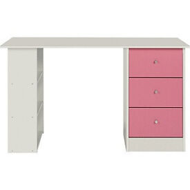 New Malibu 3 Drawer Desk - Pink on White