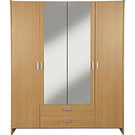 New Capella 4 Door 2 Drawer Mirrored Wardrobe - Oak Effect