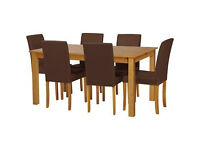 Ashdon Oak Stain 150cm Table & 6 Chocolate Mid Back Chairs