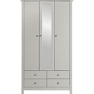 Osaka 3 Door 4 Drawer Mirrored Wardrobe - Putty