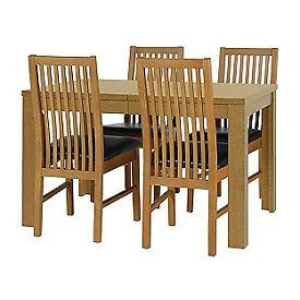 Penley Oak Stain Extendable Table and 4 Paris Black Chairs