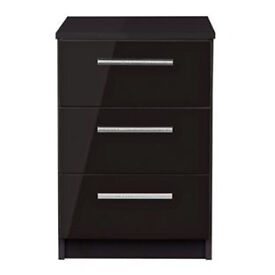 Sparkle 3 Drawer Bedside Chest - Black