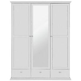 Canterbury 3 Door 3 Draw Mirrored Wardrobe - White