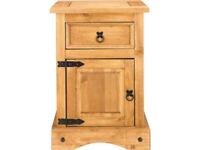 Puerto Rico 1 Drawer Bedside Chest - Pine