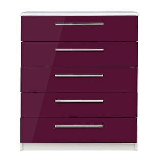 Sparkle 5 Drawer Chest - Plum