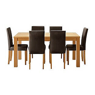 HOME Hemsley Extendable Dining Table & 6 Chairs - Chocolate
