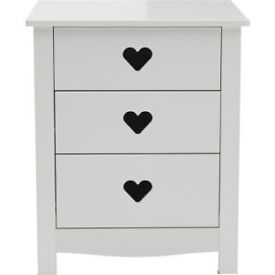 Mia 3 Drawer Bedside Chest - White