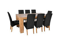 Heart of House Alston Oak Dining Table and 8 Black Chairs