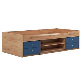 Malibu Cabin Bed Frame - Blue on Pine