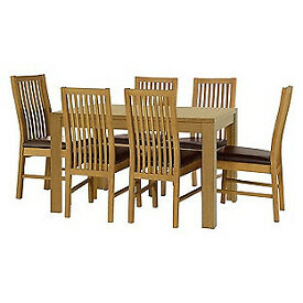 Penley Oak Stain Extendable Table & 6 Paris Chocolate Chairs