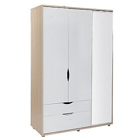 Hygena Berkeley White & Oak 3 Door 2 Drawer Mirror Wardrobe