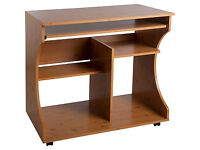 Curved Computer Desk Trolley - Pine Effect