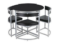 already built up Hygena Milan Black Space Saver Table and 4 Black Chairs