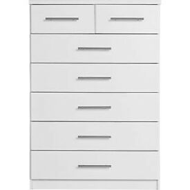 Fully assembled Normandy 5+2 Drawer Chest - White