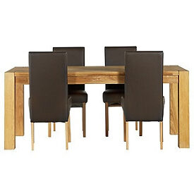 Heart of House Aspley Table & 4 Chocolate Skirted Chairs.