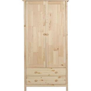 Kids Scandinavia 2 Door 2 Drawer Wardrobe - Pine
