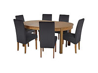 Massey Wood Effect Extendable Table and 6 Black Chairs