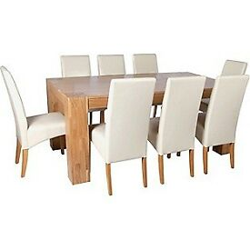 Heart of House Alston Oak Dining Table and 8 Cream Chairs
