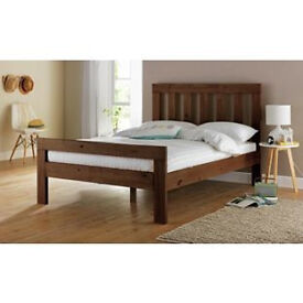 Chile Double Bed Frame - Dark Stain