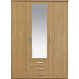 New Hallingford 3 Dr 3 Drw Mirrored Wardrobe - Oak Effect