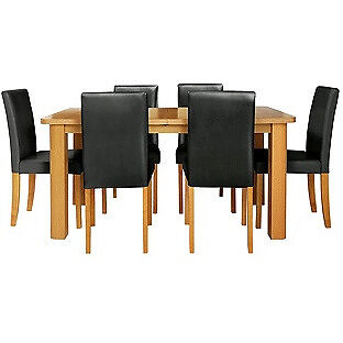 HOME Heyford Extendable Dining Table and 6 Chairs - Black