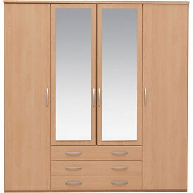 New Hallingford 4 Dr 3 Drw Mirrored Wardrobe - Beech Effect