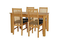 HOME Ashdon 120cm Table and 4 Paris Chairs - Oak Stain Choc