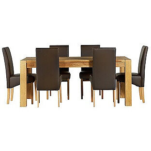 Heart of House Aspley Table & 6 Chocolate Skirted Chairs.