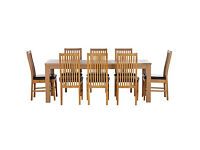HOME Hemsley Ext Dining Table and 8 Paris Chairs -Oak Stain