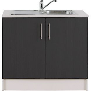 Athina 1000mm Stainless Steel Kitchen Sink Unit - Black