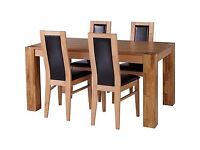 Collection Warwick Dining Table and 4 Chairs- Oak Chocolate