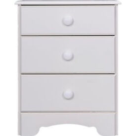 Fully assembled Nordic 3 Drawer Bedside Chest - White.