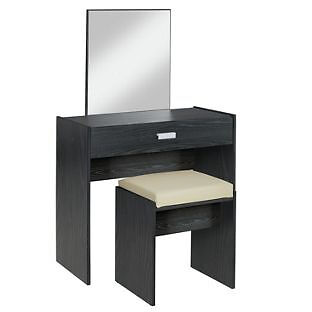 New Capella 1Drw Dressing Table,Stool, Mirror-Black Ash