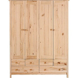Scandinavia 4 Door 6 Drawer Wardrobe - Pine