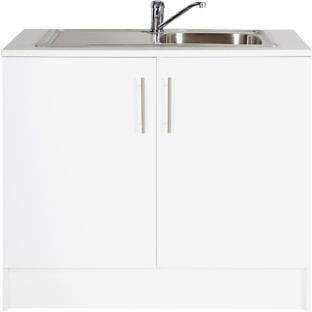 Athina 1000mm Stainless Steel Kitchen Sink Unit - White