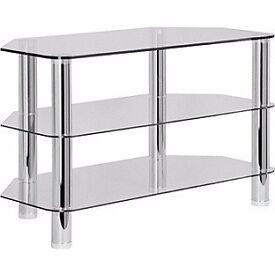 Excellent condition Hygena Matrix glass and chrome tv stand with 2 shelves