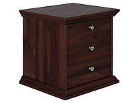 Fully assembled Canterbury 3 Drawer Bedside Chest - Walnut effect
