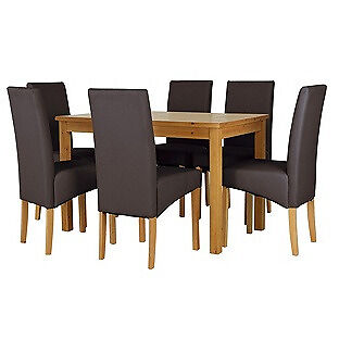 Lincoln Oak Effect 150cm Dining Table and 6 Chocolate Chairs