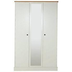 Kensington 3 Dr Mirror Wardrobe-Oak Effect White