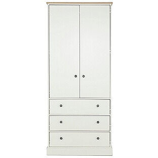 Kensington 2 Door 3 Drawer Wardrobe - Oak Effect and White