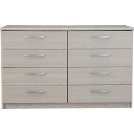 New Hallingford 4+4 Drawer Chest - Light Oak Effect
