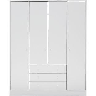 New Malibu 4 Door 3 Drawer Wardrobe - White