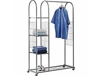 Clothes Rail with Shelves - Silver for sale