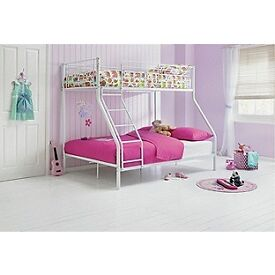 White Metal Bunk Beds Bottom Double & Top Single.