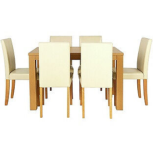 Pemberton Oak Effect Dining Table & 6 Cream Chairs.