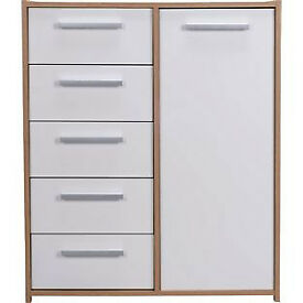 New Sywell 5 Drawer 1 Door Chest - Oak Effect and White