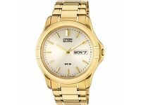 Men's Gold Plated Eco-Drive Bracelet Watch