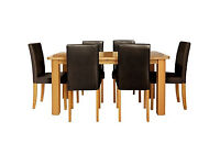 HOME Heyford Extendable Dining Table & 6 Chairs - Chocolate