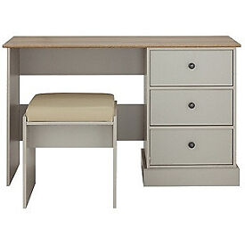 Kensington Dressing Table and stool - Putty & Oak Effect